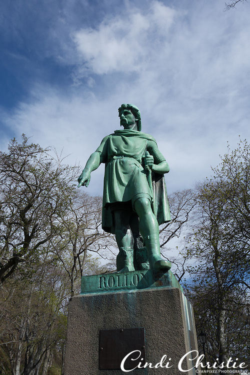A statue of Rollon the Viking watches over a park in Ålesund, Norway, on May 14, 2013.   (© 2013 Cindi Christie)
