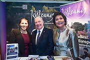 NO FEE PICTURES<br /> 23/1/16 Minister for Tourism Michael Ring and Maureen Ledwith, organiser of the Holiday World Show at the Kilkenny Tourism stand at the Holiday World Show at the RDS in Dublin. Picture: Arthur Carron