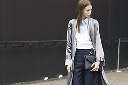 Maria Matakova arrives at the Fashion East Autumn / Winter 2017 London Fashion Week show at Tate Modern, London on Saturday February 18, 2017