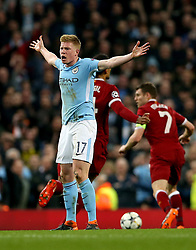 Manchester City's Kevin De Bruyne reacts during the UEFA Champions League, Quarter Final at the Etihad Stadium, Manchester.