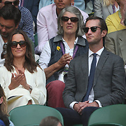 LONDON, ENGLAND - JULY 14: Pippa Middleton and her husband James Matthews at the Gentlemen's Singles Semi-finals of the Wimbledon Lawn Tennis Championships at the All England Lawn Tennis and Croquet Club at Wimbledon on July 14, 2017 in London, England. (Photo by Tim Clayton/Corbis via Getty Images)