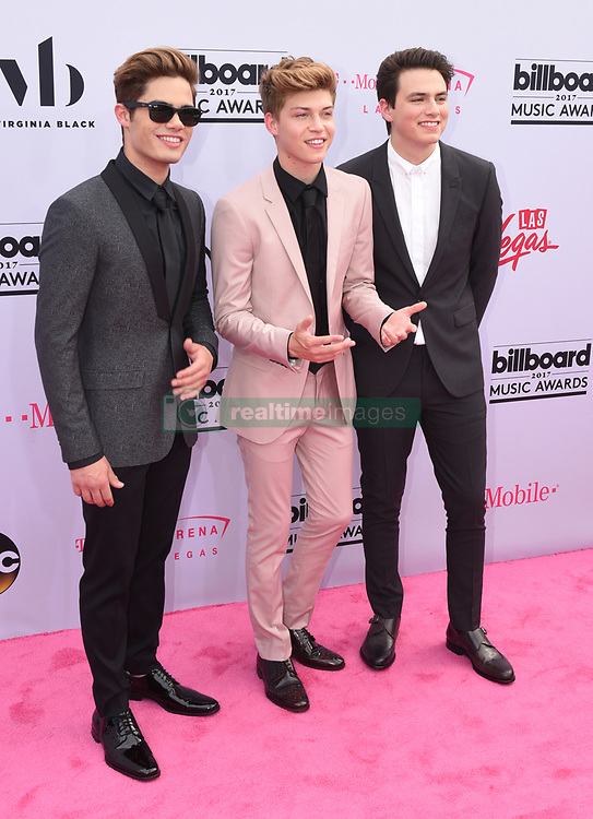 Singers Ricky Garcia, Emery Kelly and Liam Attridge of Forever In Your Mind at 2017 Billboard Music Awards held at T-Mobile Arena on May 21, 2017 in Las Vegas, NV, USA (Photo by Jason Ogulnik) *** Please Use Credit from Credit Field ***