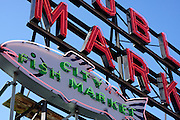 The Public Market sign atop the Pike Place Market in Seattle, Washington.