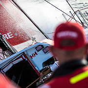 Leg 4, Melbourne to Hong Kong, day 02 on board MAPFRE, water is back on deck. Photo by Ugo Fonolla/Volvo Ocean Race. 02 January, 2018.