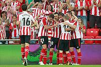 Athletic Club de Bilbao's Xavier Etxeita, Mikel Vesga, Aritz Aduriz, Raul Garcia, Iker Muniain and Aymeric Laporte celebrate goal during Europa League Third Qualifying Round, 2nd leg. April 5,2012. (ALTERPHOTOS/Acero)