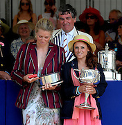 Henley on Thames. United Kingdom. Winners of The Remenham Challenge Cup<br /> Leander Club and Oxford Brookes University   left to Right.  Olivia CARNEGIE-BROWN and Cox Zoe DE TOLEDO.  2013 Henley Royal Regatta, Henley Reach. 16:56:43  Sunday  07/07/2013  [Mandatory Credit; Peter Spurrier/ Intersport Images]
