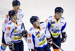 Metod Bevk, Milan Hafner,  Jan Bercic, and Dejan Zemva at SLOHOKEJ league ice hockey match between HK Slavija and HK Triglav Kranj, on February 3, 2010 in Arena Zalog, Ljubljana, Slovenia. Triglaw won 4:1. (Photo by Vid Ponikvar / Sportida)