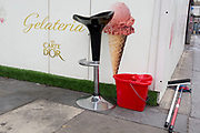 A Gelato kiosk and a stool at the southern Southwark end of London Bridge, on 30th May 2018, in London, England.