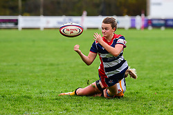 Cat McNaney of Bristol Ladies offloads despite the tackle of Tina Veale of Wasps Ladies  - Mandatory by-line: Craig Thomas/JMP - 28/10/2017 - RUGBY - Cleve RFC - Bristol, England - Bristol Ladies v Wasps Ladies - Tyrrells Premier 15s