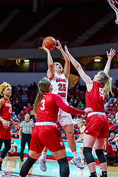 NORMAL, IL - February 07: Lexi Wallen shoots the fader over Chelsea Brackmann during a college women's basketball game between the ISU Redbirds and the Braves of Bradley University February 07 2020 at Redbird Arena in Normal, IL. (Photo by Alan Look)