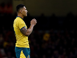 Israel Folau of Australia<br /> <br /> Photographer Simon King/Replay Images<br /> <br /> Under Armour Series - Wales v Australia - Saturday 10th November 2018 - Principality Stadium - Cardiff<br /> <br /> World Copyright © Replay Images . All rights reserved. info@replayimages.co.uk - http://replayimages.co.uk