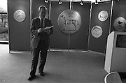 First 20p Coin..1986..29.10.1986..10.29.1986..29th October 1986..At the Central Bank's Currency Centre and Mint the Minister for Finance,Mr John Bruton,was on hand for the issue of the new 20p coin..Initially 20 million new 20p coins will be put into circulation...Picture shows The Minister for Finance,Mr John Bruton TD,preparing for the launch of the new 20p coin.