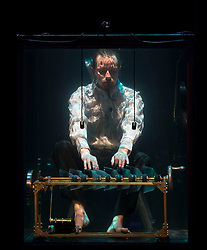Creator and violinist Rob Karlsson performs with musicians in water filled glass tanks as part of the Sonica 2017 Festival to be held in Glasgow from 26th October to 5th November this year.<br /> <br /> © Dave Johnston/ EEm