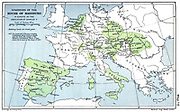 Map showing the Habsburg Empire at the time of Charles V Mid 16th Century