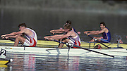 Barcelona, SPAIN. GBR M2+, Bow Jonny SEARLE and Greg SEARLE with cox, Gary HERBERT. in the closing stages of the final overtaking ITA M2+ to win the Gold Medal. 1992 Olympic Rowing Regatta Lake Banyoles, Catalonia [Mandatory Credit Peter Spurrier/ Intersport Images] Last time Men's coxed pair raced at the Olympics