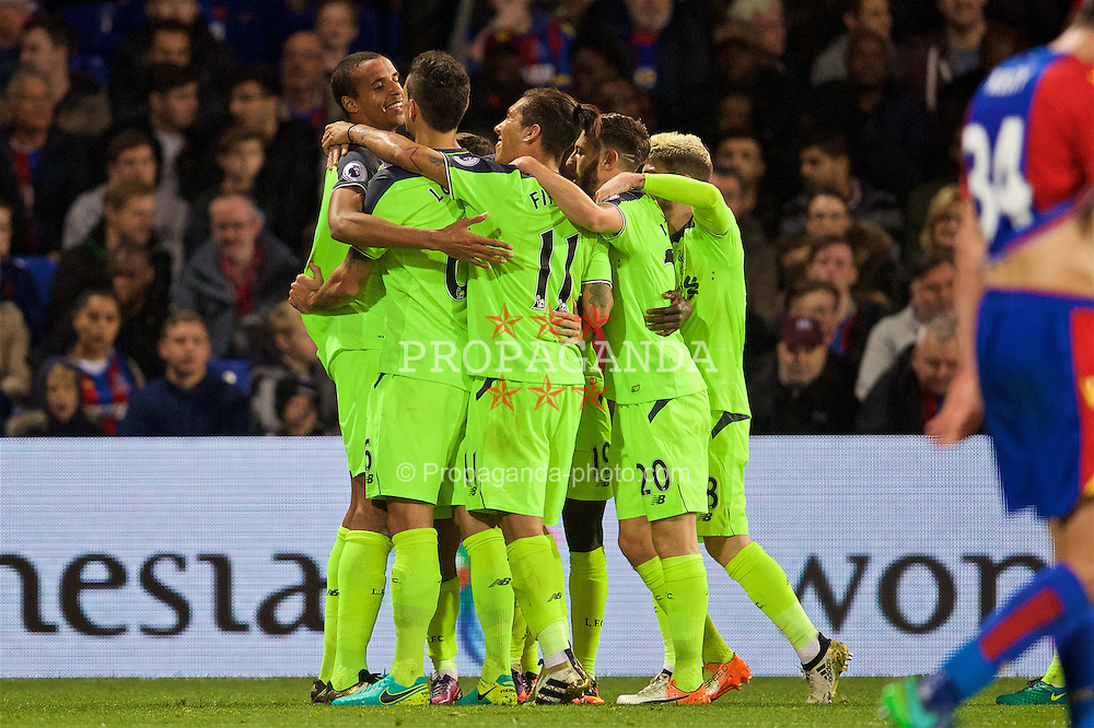 LONDON, ENGLAND - Saturday, October 29, 2016: Liverpool's Joel Matip celebrates scoring the third goal against Crystal Palace with team-mates Correia during the FA Premier League match at Selhurst Park. (Pic by David Rawcliffe/Propaganda)