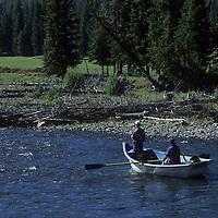 Drift boat fishing on Wyoming's Clark Fork River, near Yellowstone. (MR)