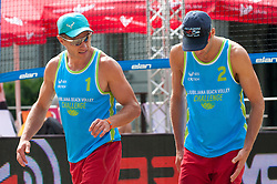 Jure Peter Bedrac and Danijel Pokersnik at Beach Volleyball Challenge Ljubljana 2014, on August 1, 2014 in Kongresni trg, Ljubljana, Slovenia. Photo by Matic Klansek Velej / Sportida.com