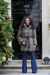 © Licensed to London News Pictures. 10/12/2018. London, UK. Radio presenter, Beverley Knight arrives in Downing Street for a Children Christmas reception in No 11 Downing Street, hosted by Philip Hammond. Photo credit: Dinendra Haria/LNP