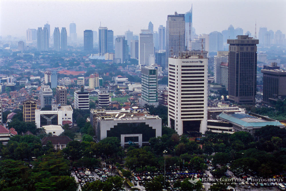 Indonesia, Java, Jakarta. View from MONAS, a lift runs to te top of the monument. Jakarta skyline, looking south.