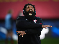 Rugby Union - 2020 / 2021 European Rugby Heineken Champions Cup - Round of 16 - Gloucester vs La Rochelle - Kingsholm<br /> <br /> Gloucester's Jamal Ford-Robinson during the pre match warm up.<br /> <br /> COLORSPORT/ASHLEY WESTERN