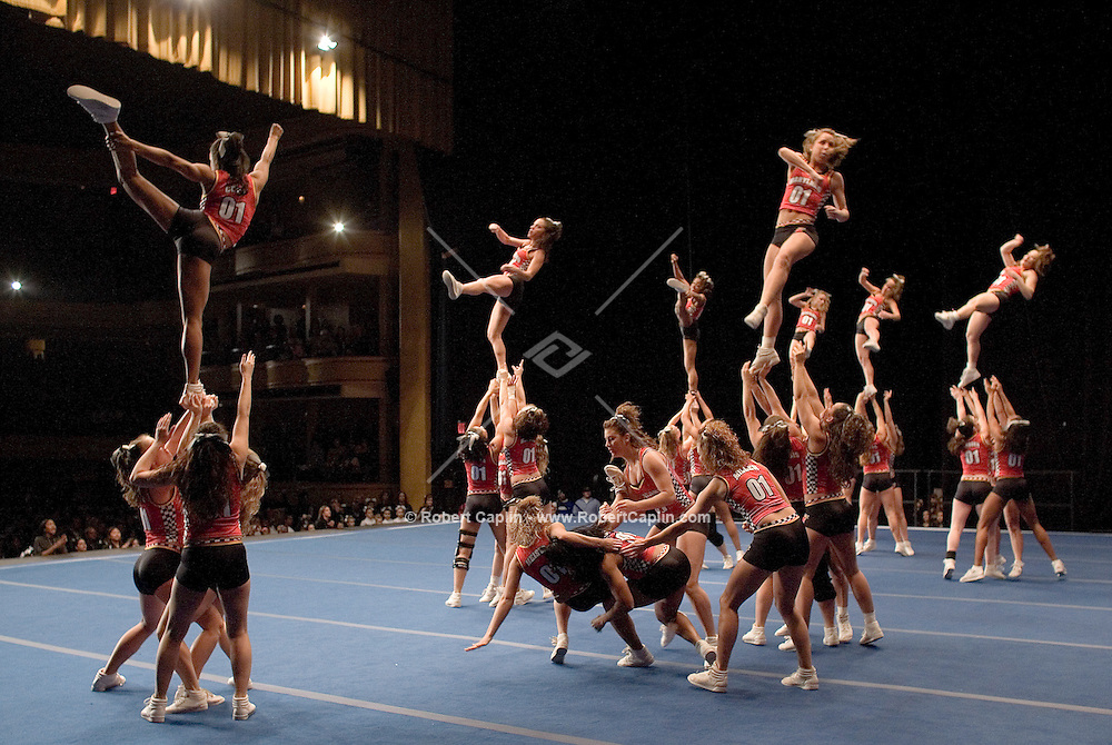 The University of Maryland competes in the NCA/NDA U.S. Championship held at the Hammerstein Ballroom Sat. March 10, 2007. Rising popularity in the sport of cheerleading has brought a significant increase in cheerleading related accidents and injuries.