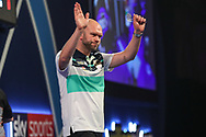 Daniel Larsson after his second round defeat to Kim Huybrechts during the World Darts Championships 2018 at Alexandra Palace, London, United Kingdom on 19 December 2018.