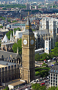 St Stephen's Tower on the Houses of the Parliament which houses Big Ben, the famous clock bells. The great clock of Westminster shows a time of 9.40
