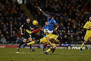 Portsmouth Forward, Omar Bogle (22) and Bristol Rovers Defender, Tom Lockyer (4) during the EFL Sky Bet League 1 match between Portsmouth and Bristol Rovers at Fratton Park, Portsmouth, England on 19 February 2019.