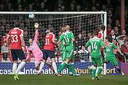 Shwan Jalal (Wrexham AFC) puts out an arm to make a save during the Vanarama National League match between York City and Wrexham FC at Bootham Crescent, York, England on 17 April 2017. Photo by Mark P Doherty.
