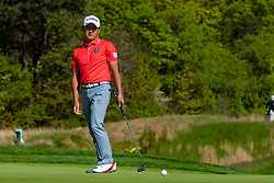 May 16, 2019 - Farmingdale, NY, U.S. - FARMINGDALE, NY - MAY 16: Shugo Imahira of Japan reacts after missing a putt on the 12th green during Round One of the PGA Championship Tournament on May 16, 2019, at Bethpage State Park in Farmingdale, NY (Photo by John Jones/Icon Sportswire) (Credit Image: © John Jones/Icon SMI via ZUMA Press)