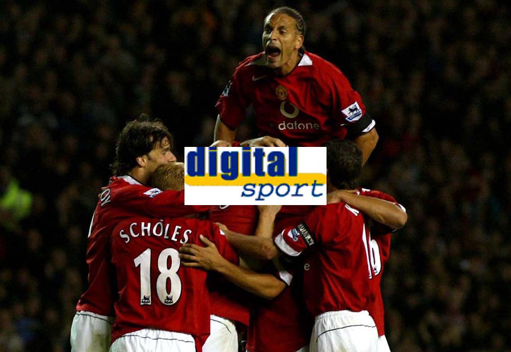 Manchester United v Liverpool Premier League 20/09/04 2-1<br />Mikael Silvestre celerates second goal with Rio Ferdinand<br />Photo Martyn Harrison / Fotosports International