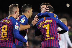 January 30, 2019 - Barcelona, BARCELONA, Spain - Players  of Barcelona celebrating a goal during Spanish King championship, football match between Barcelona and Sevilla, January  30th, in Camp Nou Stadium in Barcelona, Spain. (Credit Image: © AFP7 via ZUMA Wire)