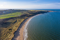 Aerial view of Gullane Bents and beach in Gullane , East Lothian, Scotland, UK