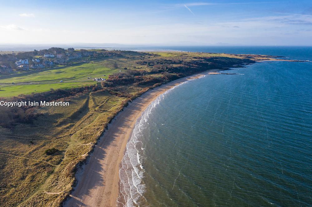 Aerial view of Gullane Bents and beach in Gullane , East Lothian, Scotland, UK