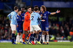 Manchester City's Kyle Walker and Chelsea's David Luiz (right) confront each other