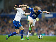 Andy King of Leicester City in action with Tom Davies of Everton during the English Premier League match at Goodison Park Stadium, Liverpool. Picture date: April 9th 2017. Pic credit should read: Simon Bellis/Sportimage