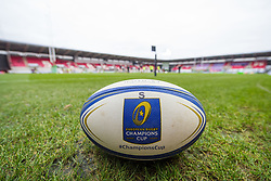 Champions cup branded ball and general view of Parc Y Scarlets, home of Scarlets - Mandatory by-line: Craig Thomas/JMP - 09/12/2017 - RUGBY - Parc y Scarlets - Llanelli, Wales - Scarlets v Benetton Rugby - European Rugby Champions Cup