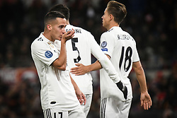 November 27, 2018 - Rome, Italy - Lucas Vazquez (R) with his teammates of Real Madrid celebrates after scoring the team's second goal   during the Champions league football match between AS Roma  and Real Madrid at Olimpico stadium in Rome, Italy, on November 27, 2018. (Credit Image: © Federica Roselli/NurPhoto via ZUMA Press)