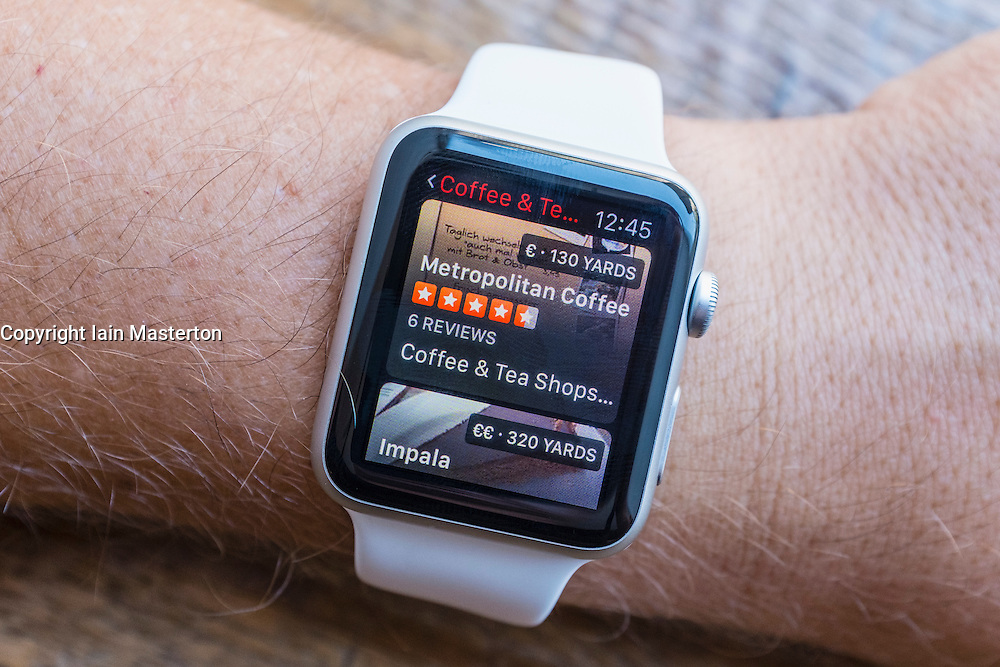 TripAdvisor app showing cafes in Berlin on an Apple Watch