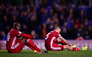 Sol Bamba of Cardiff City (l) and Joe Bennett of Cardiff City looking dejected after losing the match 1-0  .EFL Skybet championship match, Birmingham city v Cardiff city at St.Andrew's stadium in Birmingham, the Midlands on Friday 13th October 2017.<br /> pic by Bradley Collyer, Andrew Orchard sports photography.