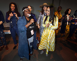Rosario Dawson with her business partner and co-designer, Abrima Erwiah present their third showcase of Studio 189 at New York Fashion Week, 2019. 11 Feb 2019 Pictured: Rosario Dawson , Abrima Erwiah. Photo credit: SteveSands/NewYorkNewswire/MEGA TheMegaAgency.com +1 888 505 6342