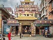 30 JULY 2015 - KATHMANDU, NEPAL:   The entrance to Drubgon Jangchup Choeling monastery near Shree Gha stupa in Kathmandu, Nepal.     PHOTO BY JACK KURTZ