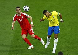 June 27, 2018 - Moscow, Russia - Group E Serbia v Brazil - FIFA World Cup Russia 2018.Filip Kostic (Serbia)  and Silva Thiago (Brazil) at Spartak Stadium in Moscow, Russia on June 27, 2018. (Credit Image: © Matteo Ciambelli/NurPhoto via ZUMA Press)
