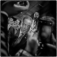 Larry Elder talks to his supporters at his election night party on September 14, 2021 at the Orange County Hilton in Costa Mesa, California.