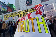 Vote Out the Scandal rally at Hachiko Square, Shibuya, Tokyo, Japan. Sunday November 5th 2017. Timed to coincide with President Trumps visit to Japan, About 120 Americans living in Japan and some local Japanese  protested together from 2pm to 4pm to encourage US citizens to register to vote in future elections and call on the US government to honour it responsibilities to the American people,.