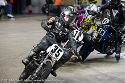 Dave Kilkenny racing his 1993 Harley-Davidson Sportster through turn one in the Flat Out Friday flat track on the Dr. Pepper-covered track in the UW-Milwaukee Panther Arena during the Harley-Davidson 115th Anniversary Celebration event. Milwaukee, WI. USA. Friday August 31, 2018. Photography ©2018 Michael Lichter.