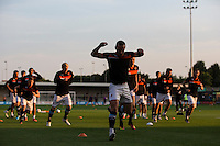 Blackpool players during the pre-match warm-up <br /> <br /> Photographer Craig Mercer/CameraSport<br /> <br /> Football - The EFL Sky Bet League Two - Barnet v Blackpool - Tuesday 16th August 2016 - The Hive Stadium - London<br /> <br /> World Copyright © 2016 CameraSport. All rights reserved. 43 Linden Ave. Countesthorpe. Leicester. England. LE8 5PG - Tel: +44 (0) 116 277 4147 - admin@camerasport.com - www.camerasport.com
