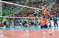 Oleg Antonov of Cuneo during volleyball match between ACH Volley Ljubljana and Bre Banca Lannutti Cuneo (ITA) in Playoff 12 game of CEV Champions League 2012/13 on January 15, 2013 in Arena Stozice, Ljubljana, Slovenia. (Photo By Vid Ponikvar / Sportida.com)