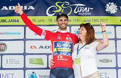 Sprint classification winner Luka Mezgec (SLO) of Orica - Scott and Mojca Novak celebrate in green jersey during trophy ceremony after the Stage 2 of 24th Tour of Slovenia 2017 / Tour de Slovenie from Ljubljana to Ljubljana (169,9 km) cycling race on June 16, 2017 in Slovenia. Photo by Vid Ponikvar / Sportida